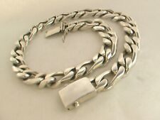 """Heavy Taxco Mexican 925 Sterling Silver Figaro Chain Necklace.420g, 57.5cm/22.6"""""""