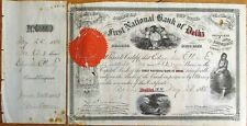 First National Bank of Delhi / Port Jervis, NY 1885 Stock Certificate