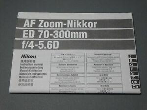 Nikon AF ED 70-300mm f4-5.6D Lens Instruction Manual - Original not a copy