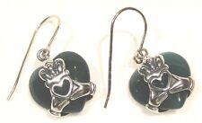 Green Agate Heart Earrings Sterling Silver Claddagh Wrap