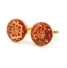 Chinese Red Happiness Gold Cufflinks Cuff Links Lucky Red Japanese Asia Dragon