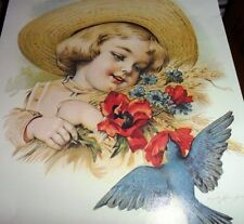 """Vintage Decoupage - Girl with Straw Hat holding Flowers with Blue Bird 12""""x9"""""""