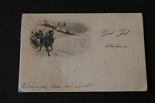 Antique Christmas Postcard Horses and Sleigh