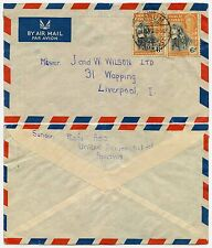 GOLD COAST SUHUM AIRMAIL 2 x 6d KG6 to LIVERPOOL