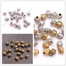 100Pcs Tibetan Silver Gold Bronze Flower Oval Spacer Beads Jewelry Finding C3022