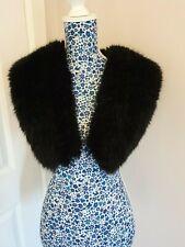 Vintage Faux Fur Black Detachable  Collar Stole Shawl