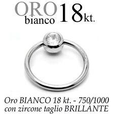 Piercing Orecchino CORPO CAPEZZOLO TRAGO ORO BIANCO 18kt. body white GOLD 18kt.