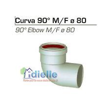 CURVA CHIUSA 90° M/F ø 80 mm PER CANNA FUMARIA TUBO IN ALLUMINIO BIANCO Stabile