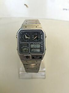 vintage citizen ana digital temp 30-5316 wristwatch for men's