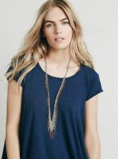 NEW ANTHROPOLOGIE FREE PEOPLE GOLD TONE CHAIN MAIL FRINGE NECKLACE