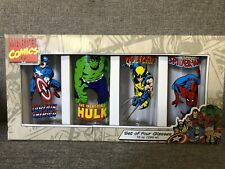 Marvel Comics Avengers NIB Set of 4 10 ounce Glasses Cups Drinking Collectible