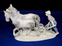 Vintage Gerold Porzellan Bavaria Germany Porcelain Figurine Farmer Men+Two Horse