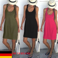 DE Damen Lässig Boho Slim Beach Minikleider Sommerkleid Trägerkleid Strandkleid
