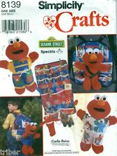 Sewing PATTERN Tickle Me Elmo Backpack Wall Organizer Clothes Sesame Street