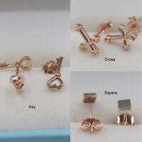 New 18K Solid Rose Gold Stud Earrings 3 Style Geometric Design Stud Earrings