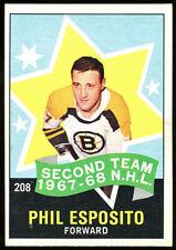 1968 O-Pee-Chee #208 Phil Esposito All Star, Bruins.  Ex+