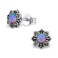 Lavender Opal Vintage Flower Sterling Silver Stud Earrings 7mm