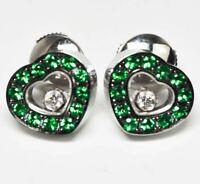 750 / 18K White Gold Chopard Happy Diamond Emerald Heart Earring / 7.40 Grams