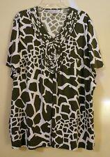 Stunning Allison Daley Green & White Giraffe Print Cap Sleeve Top Size XL EUC