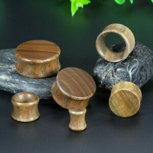 1 x Pair of Washed Brown Wooden Ear Plugs or Tunnels Piercing Jewellery Gauges