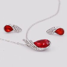 Silver Red Fashion Lady Crystal Rhinestone Pendant Necklace Earrings Jewelry Set
