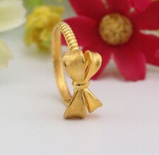 Authentic 999 24K Yellow Gold Ring 3D Bow Design Ring Band 1pcs Size: 6