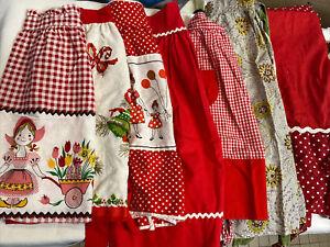 Vtg Apron Lot Half Full Christmas Linen Red Checkered Farmhouse Diner Polka Dot