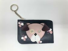 NWT KATE SPADE FLORAL PUP Smooth Italian Leather Medium L-Zip Card Holder~$99
