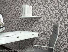 NEW Charcoal & Grey With Silver Glitter, Damask Leaf Design, Wallpaper