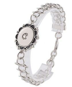 Silver Winding Leaf Infinity Link 18-20mm Snap Charm Bracelet For Ginger Snaps