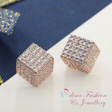 18K Rose Gold Plated AAA Grade CZ Studded Half Square Sparkling Stud Earrings