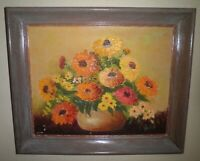 GORGEOUS MID-CENTURY STILL LIFE FLORAL MOTIF ON CANVAS OIL PAINTING