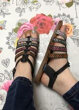 Black Sandals Size 5 Aztec Print Buckle Strappy Boho Festival Flats Faux Leather