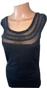 White House Black Market Womens Top Sleevless Black Lace Lined Nylon Medium