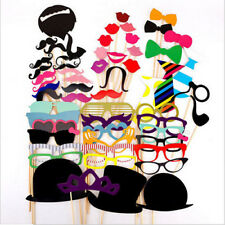 58Pcs DIY Masks Photo Booth Props Mustache On A Stick Wedding Party Favor