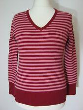 bpc Pullover Feinstrick Sweatshirt  Gr.40/42 Rosa Bordeaux gestreift Figurbetont
