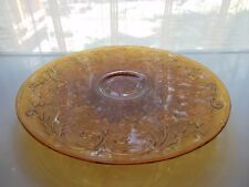 """Tiara Indiana Glass Amber Sandwich 12 3/4"""" Footed Cake Plate Platter"""