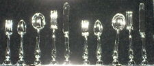 Dollhouse Miniature Flatware Silverware 1:12 10 Pc Set for 2 Dining #Cb130 Table
