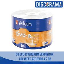 50 DVD -R VERBATIM VERGINI VUOTI 16X ADVANCED AZO DVDR 4.7 GB ORIGINALI DISCHI