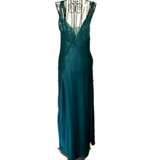 Vintage Victorias Secret Satin Lace Nightgown Negligee Maxi Green Size Small