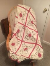 52x74 Handmade Granny Square Afghan - Vermilion And Aran - Victorian Style