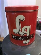 VINTAGE LG POTATO CHIPS Large Red 1 lb Tin Can Food Advertising Collectible Rare
