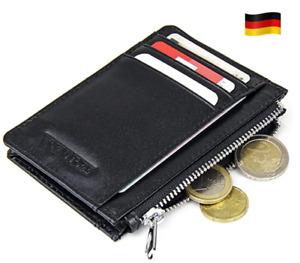 Kleine Leder Geldbörse 10 Karten + Münzfach RFID Schutz Portemonnaie Geldbeutel