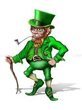PAINTING CGI ILLUSTRATION LEPRECHAUN IRISH MYTHOLOGY GREEN POSTER PRINT BMP10304