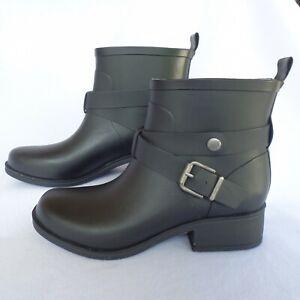 Lucky Brand LP-Rindah Black Rubber Rain Ankle Boots Bootie Size 6M Buckle Detail