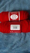 2 Skeins CRAFT SMART Yarn red Acrylic 244yds Each