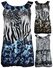 Animal Print Scoop Neck Sleeveless Tops & Shirts for Women