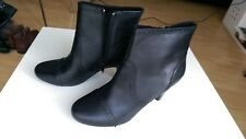 NEW CLARKS JANET BLACK LEATHER ANKLE BOOTS UK SIZE 7D
