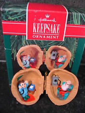 Hallmark 1990 Ornament  NUTSHELL CHAT Boy & Santa on Phone w/ Box