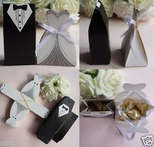100 Tuxedo Dress Groom Bridal Wedding Favor bags paper Candy Boxes USA SELLER